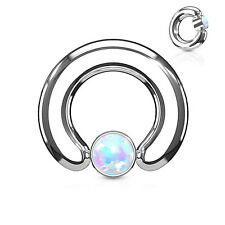 """w/Opal White 4mm Ball Steel Body Jewelry Captive Nipple Ring Heavy 10 Gauge 1/2"""""""