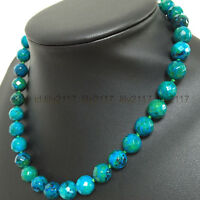 AA Pretty 10mm Green Azurite Faceted Round Beads Gemstone Necklace 18""