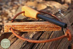 Ferro Rod / Fire Steel and Striker Wood turned handle Fatwood Fire Starter