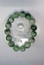 Natural Grade A  dark green/white  jade 10 mm beaded stretchy bracele(15 beads)
