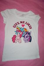 Girls T-Shirt My Little Pony White Give Me Likes Rainbow Pinkie Twilight S 6-6X