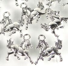 25 Galloping Horse Running Charms Antique Silver Pewter Western Charm 16x14mm