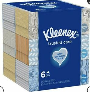 Kleenex Trusted Care Tissues - 6 Boxes, 864 Total Tissues, 144 2-Ply Each Box