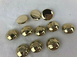 VINTAGE - LOT OF 11 BUTTONS - GOLD COLOURED - SOME WITH EMBLEM ON THEM