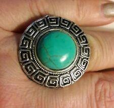 Fashion Jewelry Faux TurquoiseSilver Tone Adjustable Ring @ Size 6 New