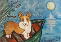 CORGI Moonlight Boat Ride Pembroke Welsh Dog Art Print 5x7 Signed Artist KSAMS