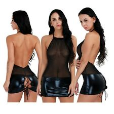 Damen Sexy Dessous Transparent Wetlook Minikleid Neckholder Clubwear Bodycon