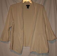 DFA New York Womens Size M Cream Cotton Blend 3/4 Sleeve Open Cardigan
