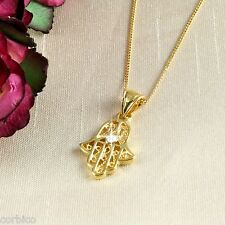 N1 18k Gold Filled Hand of Fatima Hamsa Necklace With Crystal