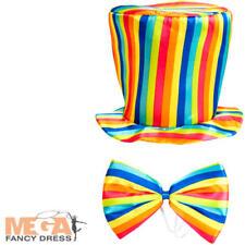 Adults Kids Rainbow Striped Top Hat Bow Tie Pride Fancy Dress Costume Accessory