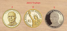 2015 P + D + S  HARRY S TRUMAN Presidential Golden Dollars   3-Coins UNC & Proof