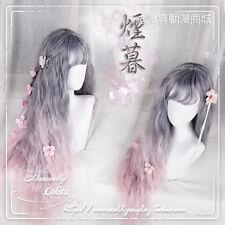 Harajuku Japanese Lolita Daily Gray Mix Pink Gradient Wig Cosplay Long Curly #76