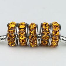 20PCS Czech Crystal Big Hole Spacer Charm Beads Fit European Bracelet Jewelry