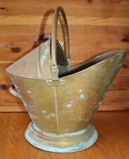 XL Antique Hearth Brass Coal Hod Scuttle fire Ash Wood Bucket Fireplace Vintage