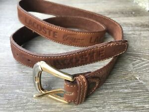 "Lacoste Tan Brown Leather Belt Brass Buckle Belt Vintage 30 32 34"" Unisex 80's"