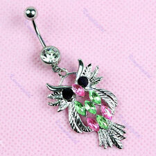 Welcome Dangle Rhinestone Owls Body Piercing Jewelry Belly Navels Bar Ring 1pc