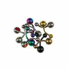 Lot of 10 Belly Button Rings 14G Surgical Steel Jeweled and IP Plated