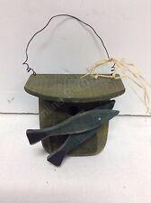 Home Decor Primitive Nautical Beach Ocean Wood Fishing Tackle Box Wall Hanger**