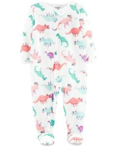 NWT Carter's Girls Dinosaur Poly Footie Pajama White Zip Up Size 12 Months