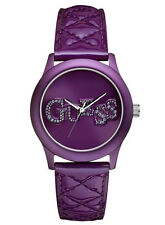 NEW GUESS QUILTED PATENT LEATHER STRAP+PURPLE CRYSTAL LOGO DIAL WATCH-U96004L1