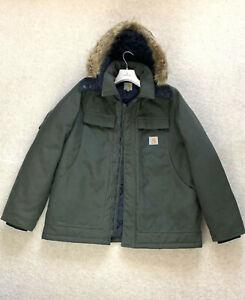 RARE Men's Cordura CARHARTT ARCTIC Coat Workwear Active Jacket Canvas XL Hood