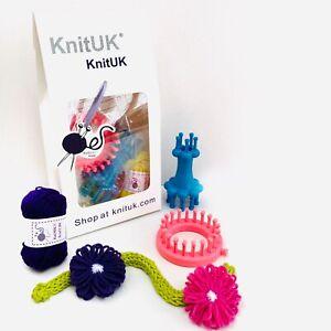 KnitUK Embellishment Set of 2: Flower Knitting Loom + Double-end Spool Loom