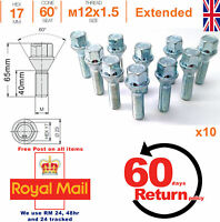 M12x1.5 40mm extended thread taper seat alloy wheel spacer bolts for Audi x 10
