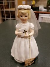 "Vintage Schmid Musical Doll Girl Communion Dress 7"" Works"