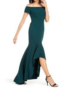 Calvin Klein Womens Gown Dress Green Size 2 Off-Shoulder Hi-Low $199- 248