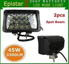 2pcs 45W SPOT LED Work Light Rectangle Truck SUV Boat 4x4 Tractor Fog Off-road