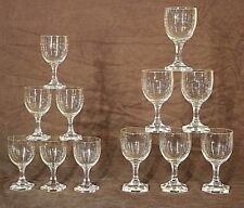 Set antique French Art Deco wine glasses gilt engraved elegant 1920's original
