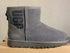 UGG CLASSIC MINI UGG RUBBER LOGO, WOMAN'S BOOTS GREY 1108231 SIZE 6, AUTHENTIC
