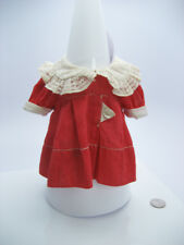Antique Vintage 1930's IDEAL SHIRLEY TEMPLE NRA Doll Dress Red White Lace Collar