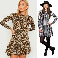 Womens Leopard Print Dog Tooth Flared Swing Dress Ladies Skater Hounds Mini Top
