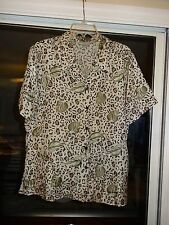 DRESS BARN Blouse Top Ladies Womens Size Large Tan & Black Leopard Print L@@K