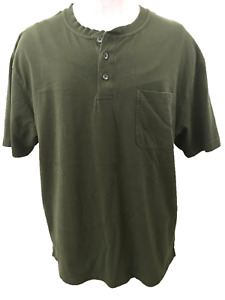 Red Head brand mens shirt size L henley style short sleeve olive green cotton