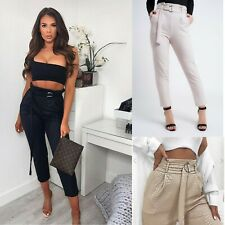 Womens Croc PU High Waist Belted Tapered Tailored Trousers Ladies Cigarette Pant
