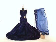 "Barbie Doll ""Sapphire Velvet Formal Gown"" Outfit Set - 1990s Mattel"