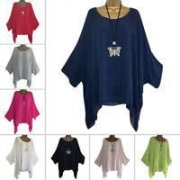 Femmes Lin en Vrac Bouffant Tunique Manche Chauve-Souris Haut T-Shirt