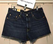 Women's Levi's Original Fit 501 Cut Off Denim Jean Shorts Dark Blue Size W32in
