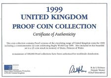 1999 Great Britain 9 Coin 1 Piece C.O.A. And Document Set~No Coins~Free Shipping