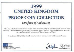 1999 Grande-Bretagne 9 Pièce de Monnaie 1 c. O. A. Et Document Kit ~ Pas Pièces