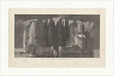 Die Todteninsel Böcklin Tor Boot Meer Bäume Felsen Säulen Holzstich E 13256