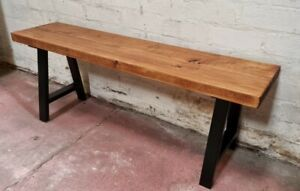 CHUNKY RUSTIC BENCH + BLACK LEGS- INDUSTRIAL RETRO FARMHOUSE SOLID REDWOOD PINE