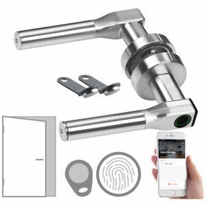 VisorTech Sicherheits-Türbeschlag mit Fingerabdruck, Transponder, App, DIN links