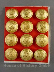KG16, 12 Knöpfe LYRA HARFE, 23mm vergoldet, Musiker Militärmusiker Uniform, 1910