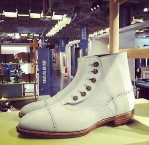 New Handmade Pure Off White Cowhide Leather Button Boots For Men's