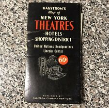 Vtg HAGSTROM'S Map of New York THEATRES Hotels Shopping District UN HQ Lincoln