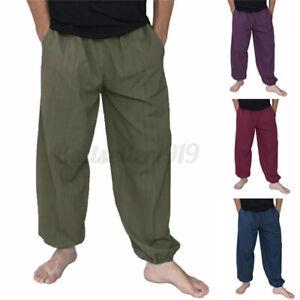 INCERUN Mens 100% Cotton Harem Trousers Pants Hippy Wide Leg Yoga Baggy Festival