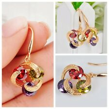 Women's Earrings Ruby/Peridot/Amethyst Drop/Dangle Hook 10KT Yellow Gold Filled